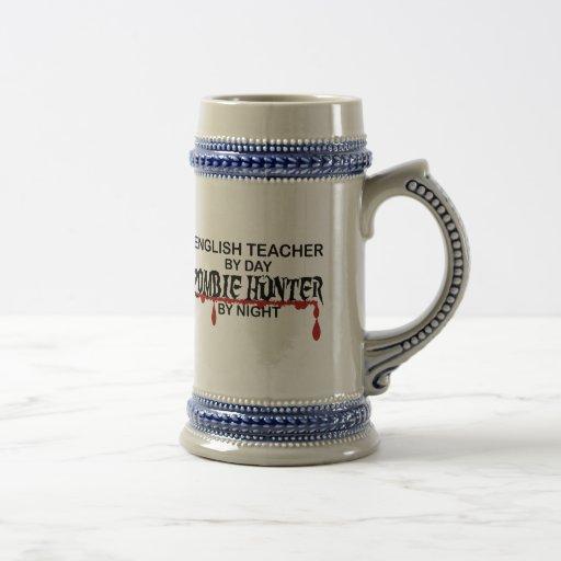 Cazador del zombi del profesor de inglés tazas de café