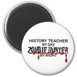 Cazador del zombi del profesor de la historia imán de nevera