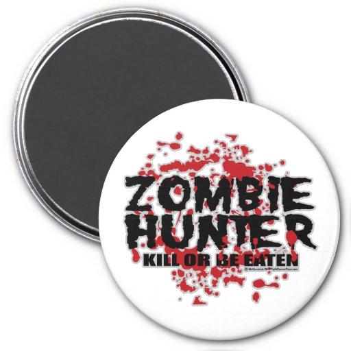 Cazador del zombi imán redondo 7 cm