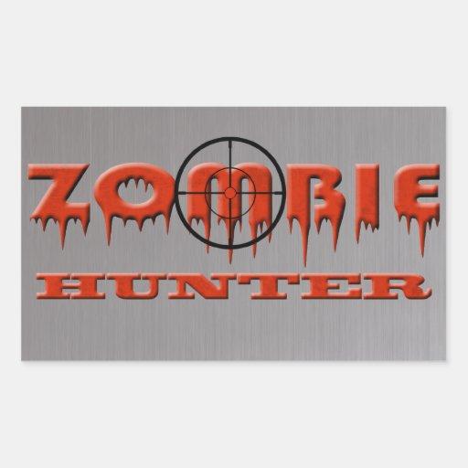 Cazador del zombi pegatina rectangular