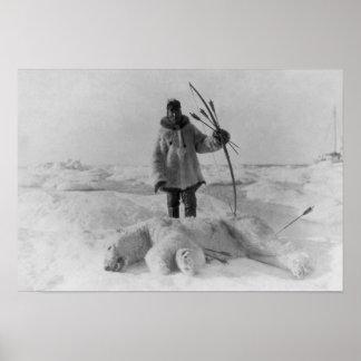 Cazador esquimal con la fotografía del oso polar posters
