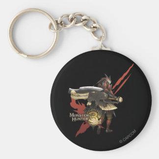Cazador femenino con el hacha del interruptor, arm llavero redondo tipo pin