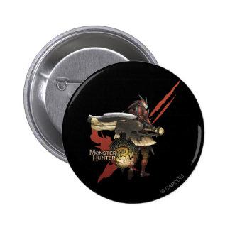Cazador femenino con el hacha del interruptor, arm pin redondo de 2 pulgadas