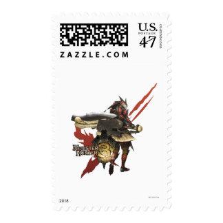 Cazador femenino con el hacha del interruptor, sello postal