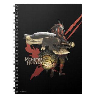 Cazador femenino con el hacha del interruptor, spiral notebooks