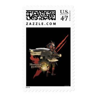 Cazador femenino con el hacha del interruptor, timbres postales