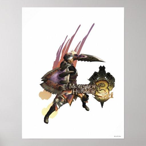 Cazador femenino con la espada y el escudo, armadu póster