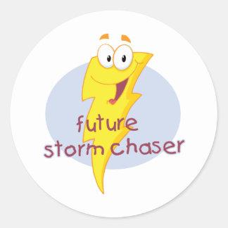 Cazador futuro de la tormenta pegatina redonda