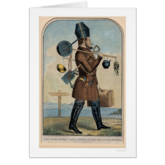 Cazador independiente del oro en su manera a tarjeta de felicitación