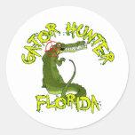 Cazador la Florida del cocodrilo Pegatina Redonda