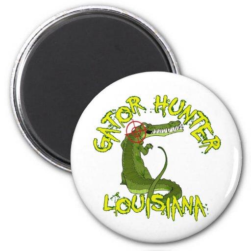 Cazador Luisiana del cocodrilo Imán Redondo 5 Cm