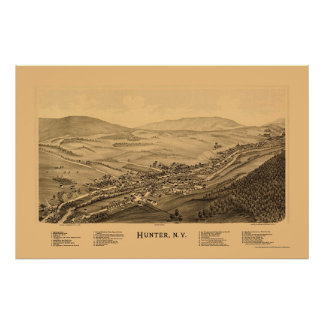 Cazador, mapa panorámico de NY - 1890 Posters