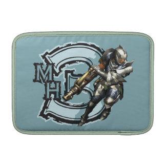 Cazador masculino con Bowgun, armadura de acero Fundas Para Macbook Air