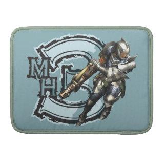 Cazador masculino con Bowgun, armadura de acero Fundas Para Macbooks