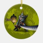 Cazador masculino con la espada y la armadura adorno redondo de cerámica
