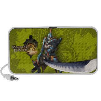 Cazador masculino con la espada y la armadura larg altavoz de viajar