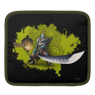 Cazador masculino con la espada y la armadura larg fundas para iPads