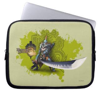 Cazador masculino con la espada y la armadura larg manga portátil