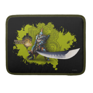 Cazador masculino con la espada y la armadura larg funda para macbook pro