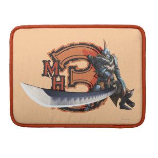 Cazador masculino con la espada y la armadura larg fundas para macbooks
