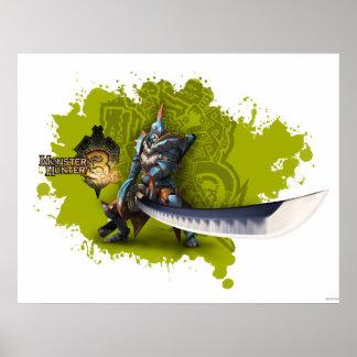 Cazador masculino con la espada y la armadura larg posters