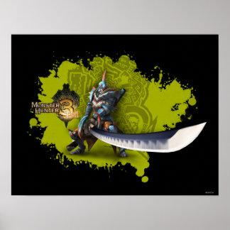 Cazador masculino con la espada y la armadura larg impresiones