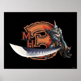 Cazador masculino con la espada y la armadura larg póster