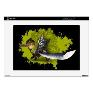 Cazador masculino con la espada y la armadura larg portátil calcomanía