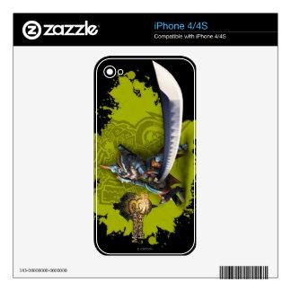 Cazador masculino con la espada y la armadura larg iPhone 4S calcomanía