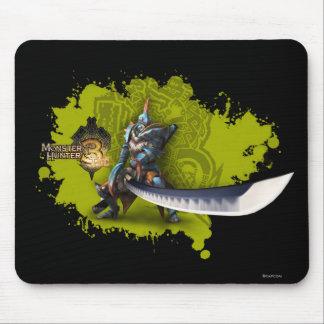 Cazador masculino con la espada y la armadura larg alfombrilla de ratón