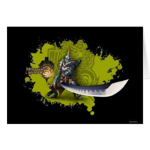 Cazador masculino con la espada y la armadura larg tarjetas