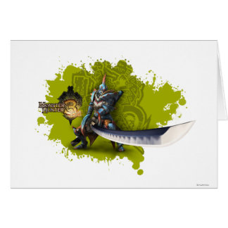 Cazador masculino con la espada y la armadura larg tarjeta