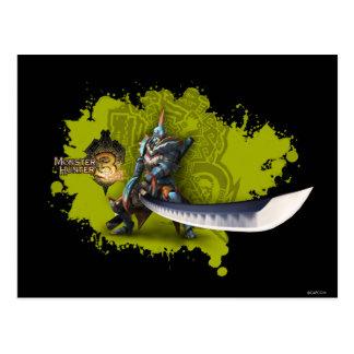 Cazador masculino con la espada y la armadura larg postales