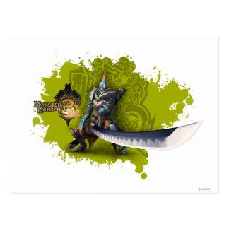 Cazador masculino con la espada y la armadura larg postal
