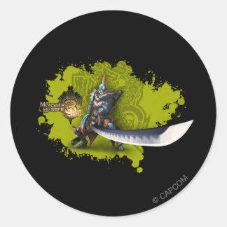 Cazador masculino con la espada y la armadura etiqueta redonda