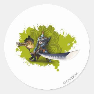 Cazador masculino con la espada y la armadura etiquetas redondas