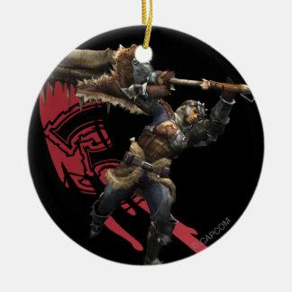Cazador masculino con la gran armadura de la adornos de navidad