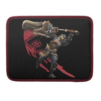 Cazador masculino con la gran armadura de la espad funda para macbook pro