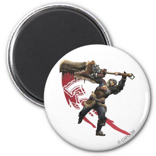 Cazador masculino con la gran armadura de la espad iman para frigorífico