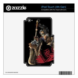 Cazador masculino con la gran armadura de la espad iPod touch 4G calcomanías