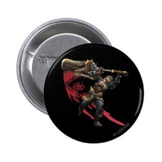 Cazador masculino con la gran armadura de la espad pin redondo de 2 pulgadas