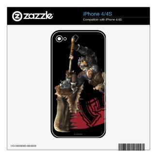 Cazador masculino con la gran armadura de la espad skins para eliPhone 4S