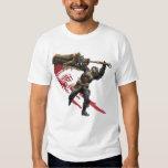 Cazador masculino con la gran armadura de la remera