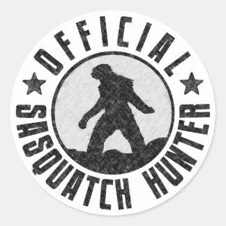 Cazador oficial de Sasquatch - Bigfoot en Grunge Etiqueta Redonda