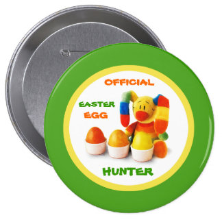 Cazador oficial del huevo de Pascua. Botón del reg Pin