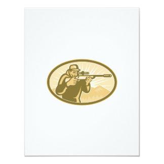 Cazador que apunta retro oval del rifle invitación 10,8 x 13,9 cm