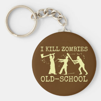 Cazador retro divertido del asesino del zombi de llavero redondo tipo pin