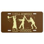 Cazador retro divertido del asesino del zombi de placa de matrícula