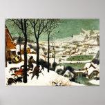 Cazadores de Pieter Bruegel en el poster de la nie