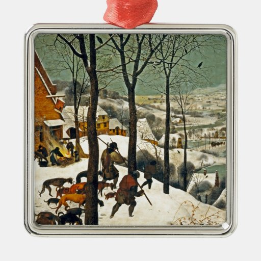 Cazadores en la nieve adorno navideño cuadrado de metal